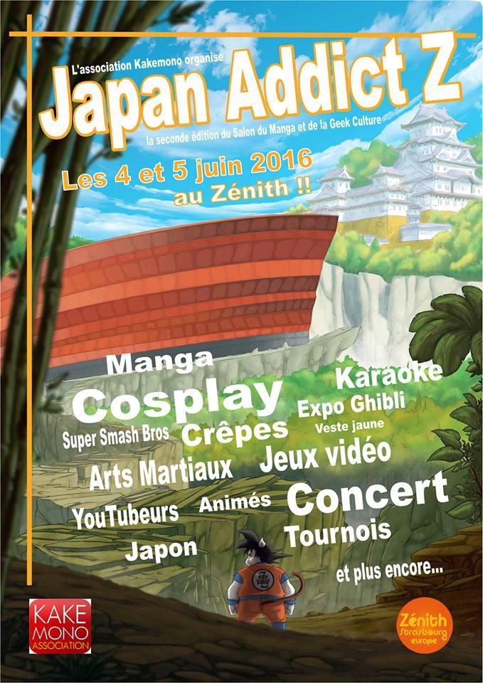 affiche flyer salon convention manga japon otaku geek japan addict z strasbourg 2016